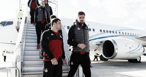 Foto: FC Lokomotiv Moscú // Jugadores del FC Lokomotiv Moscú a su llegada a Francia