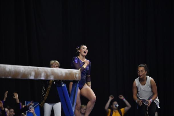 Sarah Finnegan celebrates a 9.95 beam performance. Photo Credit: LSU Tigers Gymnastics Twitter