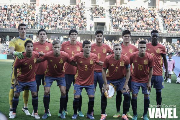 Once de la sub-21 en un partido de clasificación en Murcia | Foto: Micaela Mourelle - VAVEL