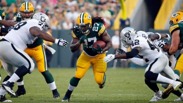 Eddie Lacy during the 2016 preseason against the Oakland Raiders | Source: Mike Roemer - AP Photo