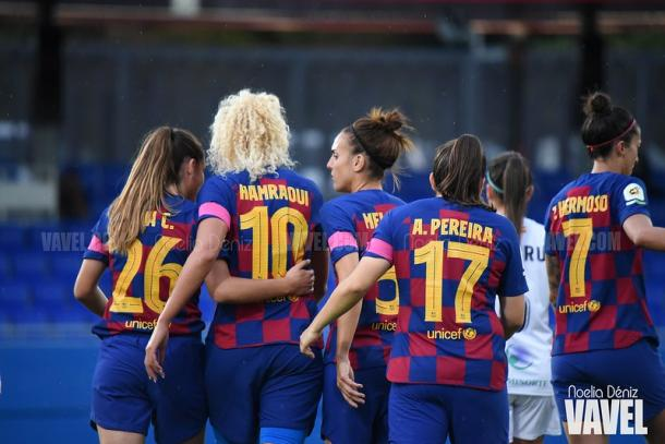 Celebración de uno de los goles del FCB Femení en la victoria sobre el Logroño | Foto: Noelia Déniz - VAVEL