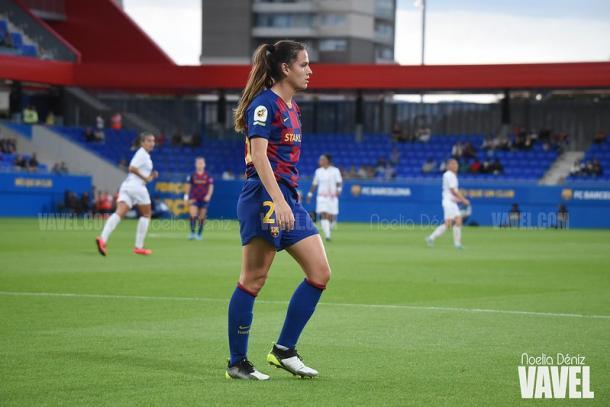 Laia, en su estreno en el Estadi Johan Cruyff ante el Logroño | Foto: Noelia Déniz - VAVEL