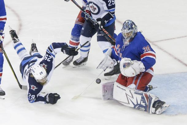 THe Winnipeg Jets' Patrik Laine scored a hat trick and all his team's goals in this game. (Photo by John Crouch/Icon Sportswire via Getty Images)