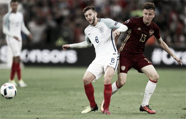 Adam Lallana was a key player for England in their match against Russia (image:thisisanfield.com)