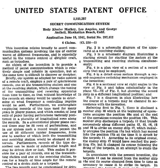 """Patente del invento """"Antheil-Kiesler Markey"""" en los EE.UU. (PD)"""