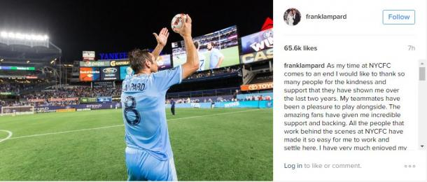 Frank Lampard post on Instagram about his New York City FC departure | Source: Frank Lampard Instagram