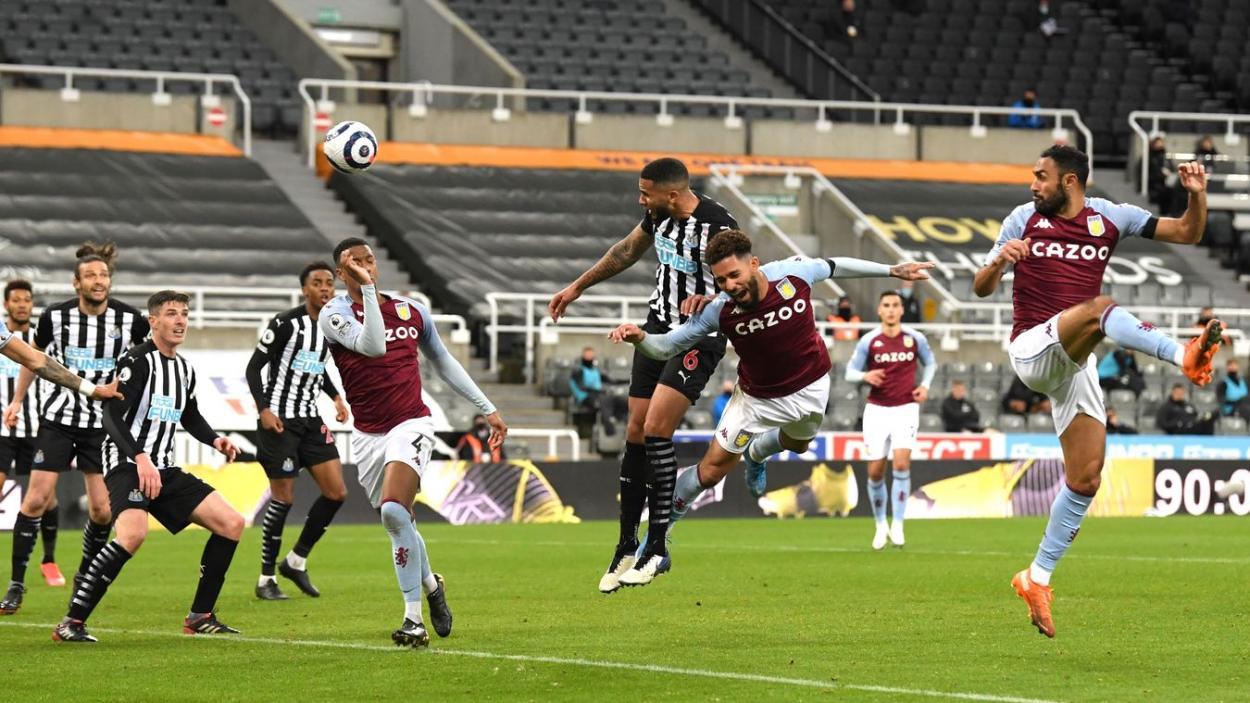 Cabezazo de Lascelles para empatar el partido. | Fuente: Premier League