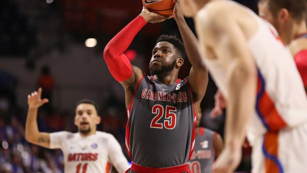 Laster was the only threat Gardner-Webb had, finishing with a double-double/Photo: Courtney Culbreath/GWUPhotos.com