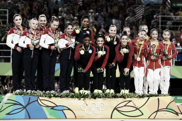 The podium for the Team Finals in Women's Gymnastics at the 2016 Olympics. Photo Credit: Laurence Griffiths