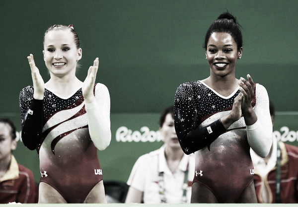  Madison Kocian (left) and Gabby Douglas (right) cheering on a teammate during Team Finals in Rio. Photo Credit: Laurence Griffiths of Getty South AmericaMadison Kocian (left) and Gabby Douglas (right) cheering on a teammate during Team Finals in Rio. Photo Credit: Laurence Griffiths of Getty South America