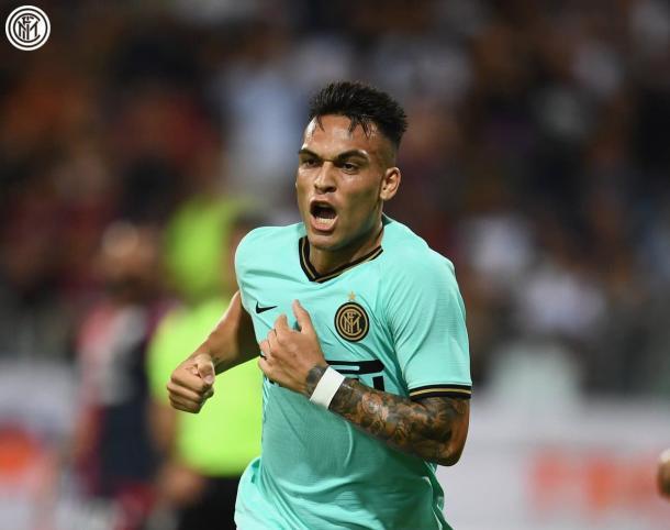 Lautaro Martínez marcó el primer tanto del compromiso, buen arranque de temporada para el argentino / Foto: Twitter oficial del Inter de Milán