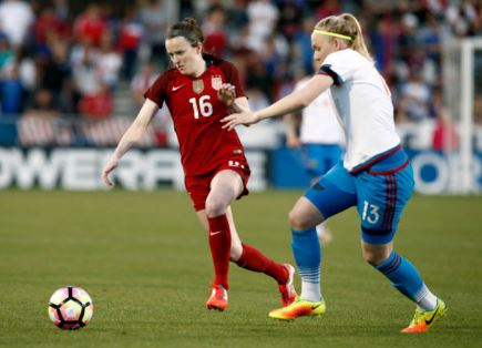 Rose Lavelle (left) showed why she was the first overall draft pick in the 2017 NWSL College Draft | Source: Mike Stone - Getty Images