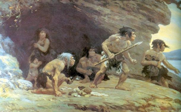 Oleo de Charles R. Knight representando una familia Neandertal (Museo de Historia Natural de Nueva York). PD