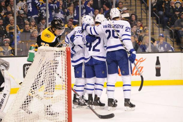 The Toronto Maple Leafs celebrate Mitch Marner's first-period goal. Photo: Steve Babineau/Getty Images