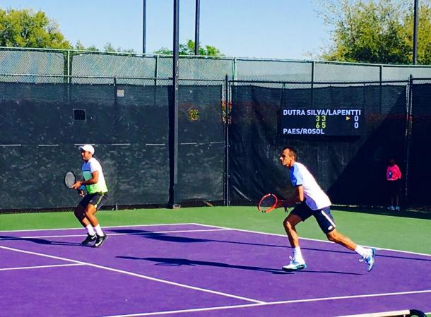Leander Paes (left) and Lukas Rosol during their win on Wednesday (Photo: Irving Tennis Classic)