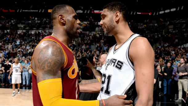 LeBron James (left) currently sits ahead of Tim Duncan (Right) in the NBA scoring charts. Credit: Garrett W. Ellwood/Getty Images