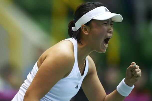 Ya-Hsuan Lee celebrates during her epic win on Sunday. Photo: Adam Nurkiewicz/Fed Cup