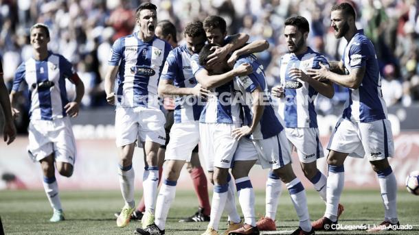Celebración del primer gol de Szymanowski | CD Leganés