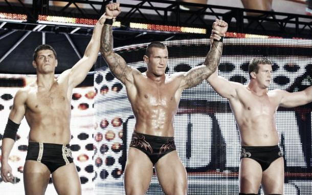 Cody Rhodes alongside his former teammates Randy Orton and Ted Diabiase jr in the Legacy stable (image:prowrestlingwikia.com)