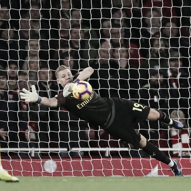 Leno, la gran figura del Arsenal. Foto: Arsenal.