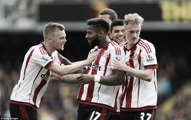 Above: Jeremain Lens celebrates his goal in Sunderland's 2-2 draw with Watford
