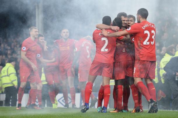 La gioia del Liverpool al goal di Mané nel derby | Foto: AFP/Getty Images