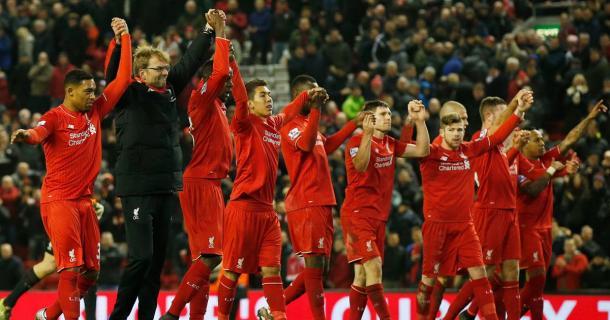 Il Liverpool festeggia la vittoria sul WBA. Fonte: http://i3.mirror.co.uk