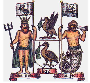 Escudo de Liverpool con los cormoranes (liverbird) y Neptuno y Tritón como tenantes (PD).