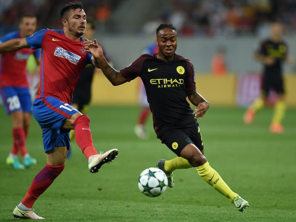 Above: One of Manchester City's top performers Raheem Sterling in action in their 5-0 win over Steaua Bucharest | Photo: Getty Images