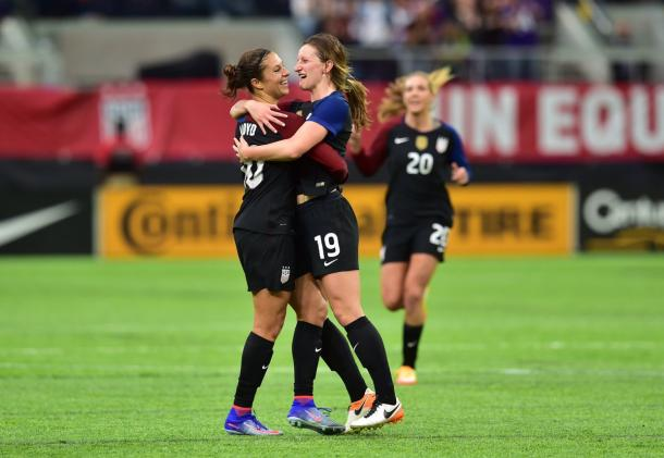 Carli Lloyd and Andi Sullivan celebrate Lloyd's stunning equalizer. (Photo credit: US Soccer)