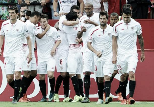 Above: Sevilla players celebrating a goal during one of their wins over Logrones | Photo: Goal