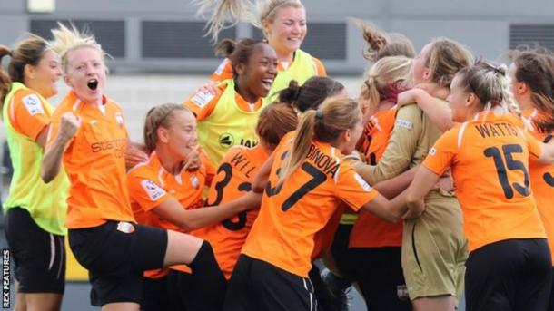 London Bees celebrate their upset over Chelsea Ladies | Photo Credit: BBC Sport