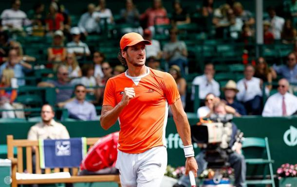 Feliciano Lopez pumps his fist during a match in Houston. Photo: Aaron M. Sprecher/ROCC