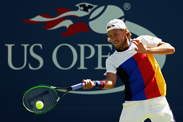 Lucas Pouille strikes a forehand shot (Photo: Elsa/Getty Images)