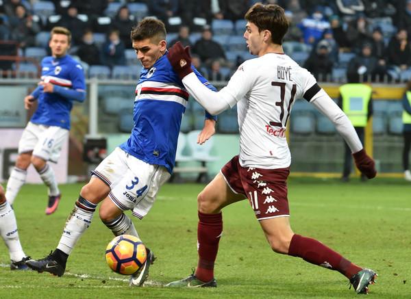 Lucas Torreira blocca alla sua maniera l'avanzata di Boyè. Fonte foto: Getty Images Europe.
