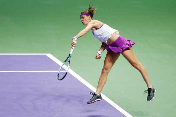 Lucie Safarova hits her signature left-handed serve. | Photo: Julian Finney/Getty Images AsiaPac