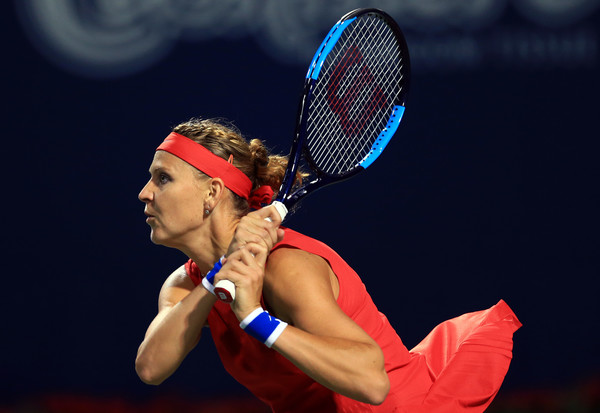 Lucie Safarova in action during her first round win over Abanda | Photo: Vaughn Ridley/Getty Images North America