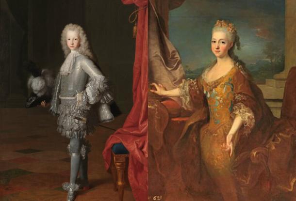 A la izquierda Luis I como príncipe de Asturias y a la derecha Luisa Isabel de Órleans tomando el trono como reina | Ambas pinturas del Museo del Prado (Madrid)