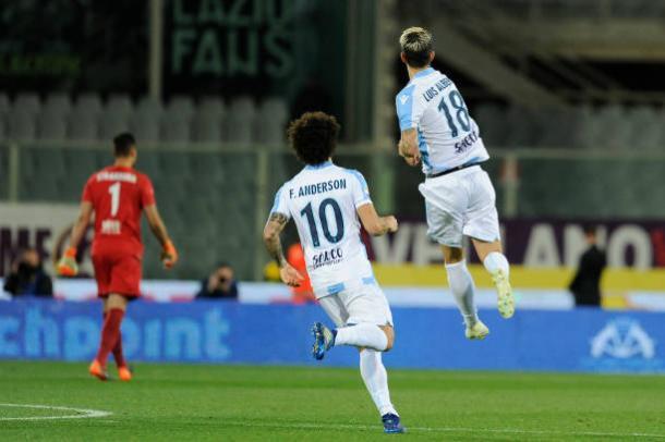 Luis Alberto e Felipe Anderson marcaram três dos quatro gols da Lazio no Franchi (Foto: Gabriele Maltinti/Getty Images)