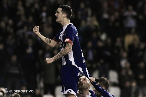 Luis Alberto celebra el primer gol ante el Levante. Foto: RC Deportivo.