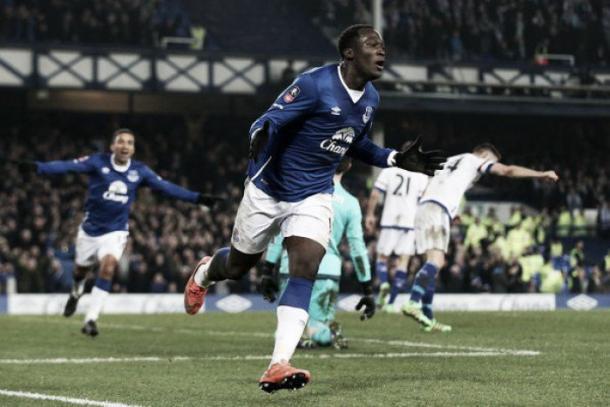Romelu Lukaku celebrates sealing a win over Chelsea. Photo: Liverpool Echo