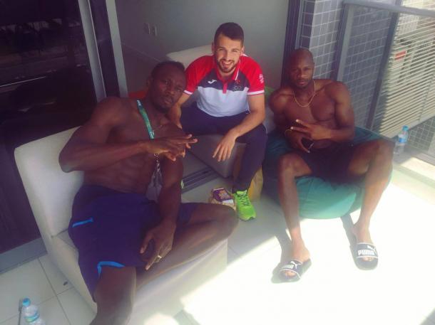 Luke Bezzina with Usain Bolt and Asafa Powell in Rio l Photo credit: Luke Bezzina