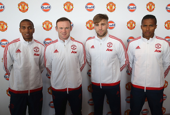 Luke Shaw among others at a Gulf Oil promotion event for Manchester United | Photo: John Peters/Manchester United