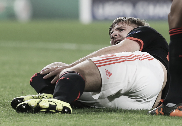 Luke Shaw broke his leg in the UEFA Champions League | Photo: Matthew Peters/Manchester United
