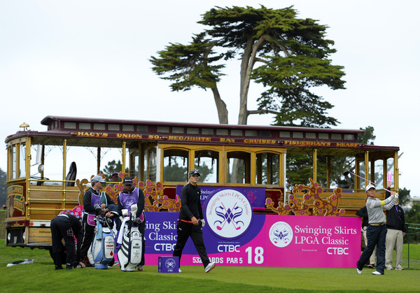 Lydia Ko on the 18th tee box of the Lake Merced Golf Club in 2015. Photo: Robert Laberge/Getty Images