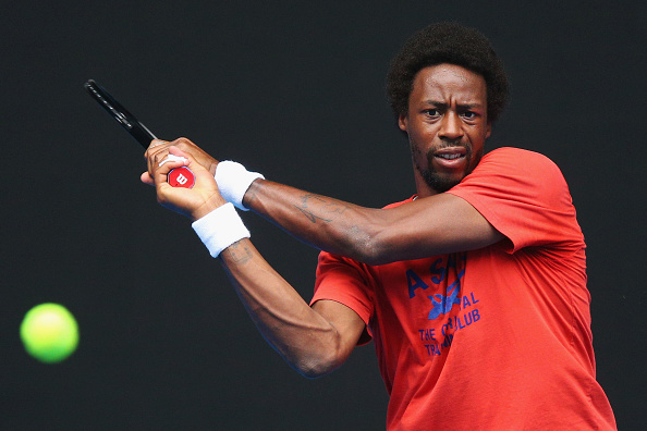 Gael Monfils practicing in Melbourne ahead of the Australian Open, which takes place next week (Getty/Michael Dodge)