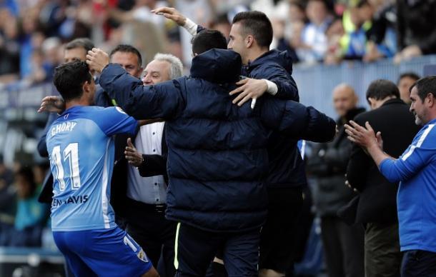"El ""Chory"" Castro celebra el gol frente al Villarreal | Foto: Malagacf.com"