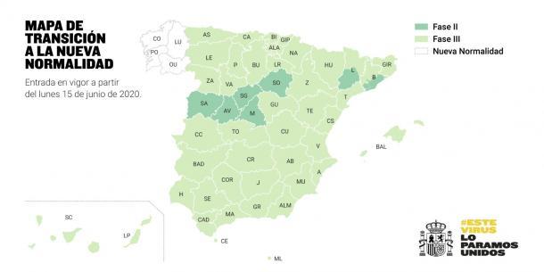 El nuevo mapa de España a partir del lunes. Fuente: Cuenta Oficial de Twitter de la Moncloa (@desdelamoncloa)