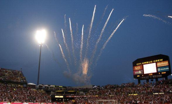 Fireworks are seen before the start of the Brazil 2014 FIFA World Cup qualifier between USA and Mexico at Columbus Crew Stadium in Columbus, Ohio, September 10, 2013 / Paul Vernon - AFP/Getty Images)