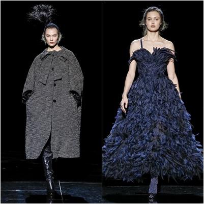 Abrigo ancho y vestido de plumas de Marc Jacobs | Foto: marcjacobs.com